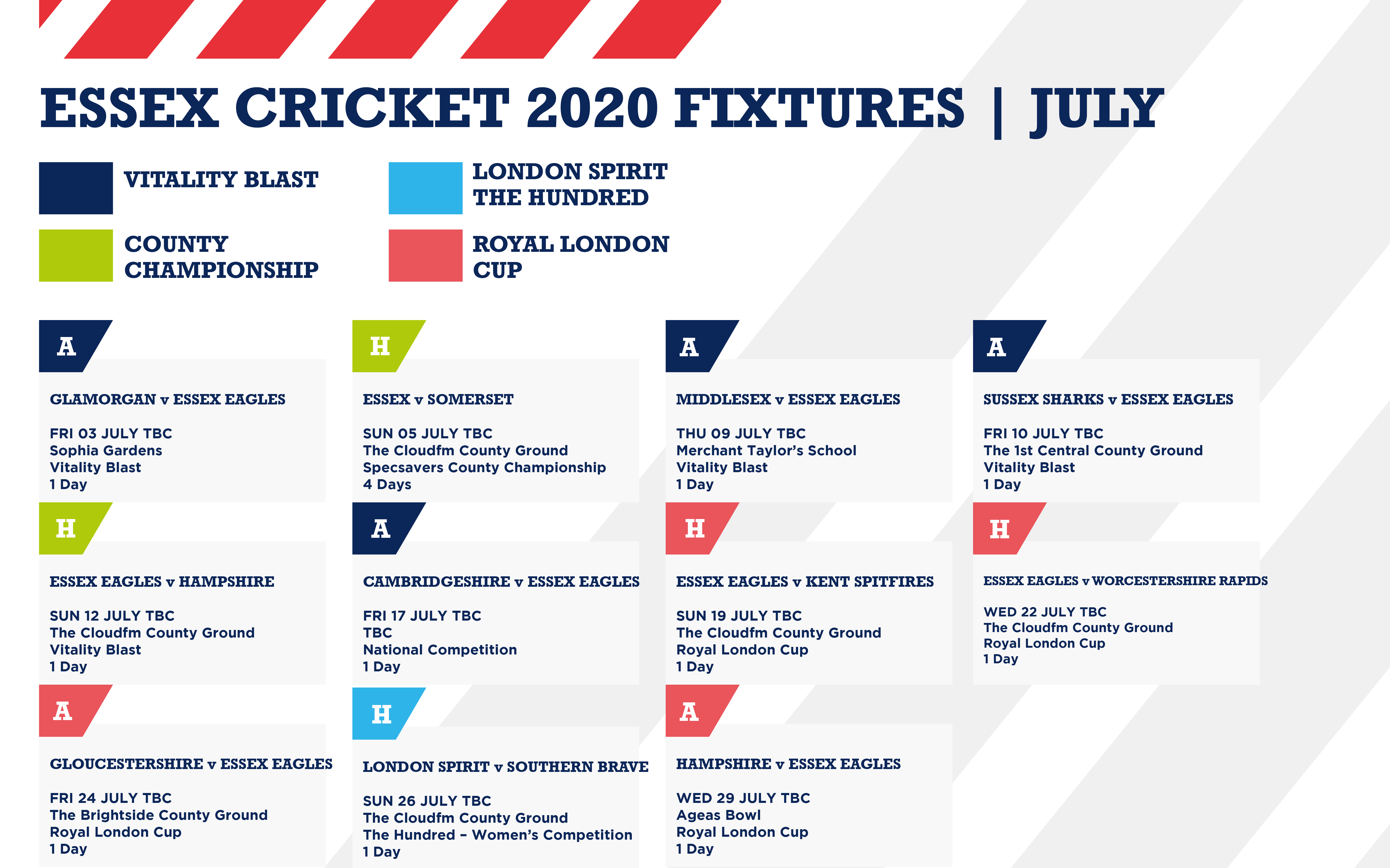 Woodland Group Essex County Cricket Club 2020 Fixtures List